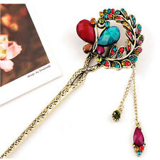 New Pretty Girls Retro Crystal Butterfly Flower Hairpins Hair Stick Hair Clip
