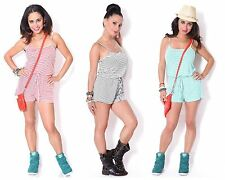 Womens Casual Striped Sporty Resort Vacation Beach Romper Jumpsuit Shorts USA