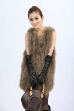 Women Real Farm Ostrich Feather Fur Vest Gilet Waistcoat Jacket Winter Vogue