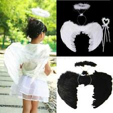 Feather Angel Wings Costume with Wand Halo Adult Kids Halloween Fancy Dress U82