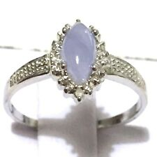 MARQUISE CUT GENUINE JADE & 2pcs GENUINE DIAMOND SOLID 925 SILVER RING Size 7, 8