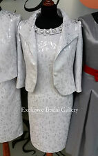 Mother Of The Bride Groom 2 Piece Formal Outfit Jacket Dress Silver Grey Size 20
