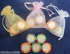 CASINO CHIP THEMED CHOCOLATE WEDDING FAVOURS/SWEETS/ PARTY BAG FILLERS