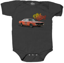 Infant Baby Comedy TV Show Dukes of Hazzard General Lee Logo Gray Romper Onesie