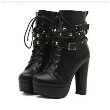 Women Studded Chunky High Heels Ankle Boots Military Lace Up Buckles Zip Booties