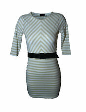 WOMENS LADIES LUREX STRIPED STRECH BELTED BODYCON DRESS 6 - 18