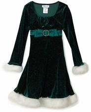 BONNIE JEAN GIRLS GREEN CHRISTMAS HOLIDAY DRESS W/  WHITE FUR TRIM FREE SHIPPING