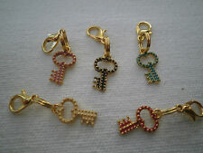 1 DAINTY LUCKY GOLD COLOURED KEY CLIP ON CHARM FOR CHARM  BRACELETS