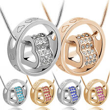 Fashion Love Heart Ring Pendant Necklace of Crystal  Rhinestone Gold Gift