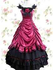 Victorian Gothic Red Satin Ball Gown Cosplay Layered Lolita Dress Tailor Made