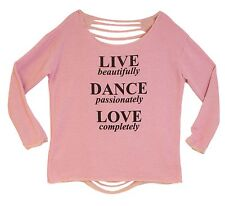 "Pink French Terry ""Live Dance Love"" Dance Sweat Shirt Junior Adult Sizes New"