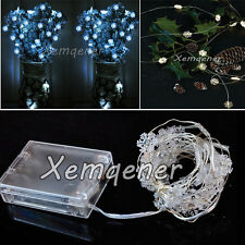 2M 20 BATTERY OPERATED LED STRING FAIRY LIGHTS SNOWFLAKE CHRISTMAS XMAS GARLAND