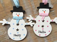 Personalised Snowman Christmas Baby's First Decoration Wooden Blue Pink Spots