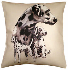 Dalmatian Group Cotton Cushion Cover - Cream or White Cover - Gift Item