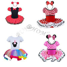 Vintage Kid Girl Minnie Mouse Polka Dots Halloween costume Princess party Dress