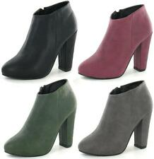 LADIES ANNE MICHELLE BLOCK HEEL ZIP UP ANKLE BOOTS IN 4 COLOURS F50006
