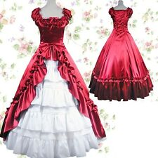 Victorian Gothic Stain Sleeveless Layered Cotton Lolita Cosplay Gown Ball Dress