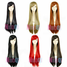 80cm Women Universal Long Synthetic Straight Cosplay Party Full Wig 6 Colors