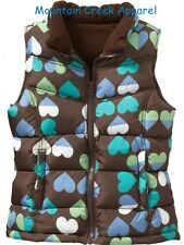 New OLD NAVY Girls ~ HEART Print Quilted Puffer Vest ~ Brown ~ Size XL 14 Kid