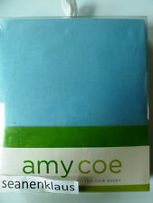 NIP Amy Coe Fitted Crib Sheet Blue White for Dot 2 Dot Simply Swirl Zoo Baby