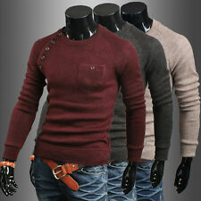 Men's Casual Slim Fit Crew Neck Knitted Cardigan Pullover Jumper Sweater Tops ds