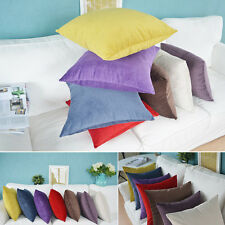 "Hot Suede Nap Solid Cushion Cover Home Decor Sofa Throw Pillow Case 18""x18"" BE"