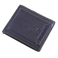 New Black/Brown Mens Cow Leather Bifold Wallet Credit/ID Card Holder Slim Purse