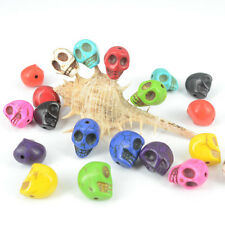 Fashion Howlite Turquoise Charms Carved Skull Loose Beads Findings DIY Jewelry