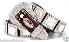 07. Atlas Cowgirl Western Brown Clear Concho Rhinestone Leather Belt