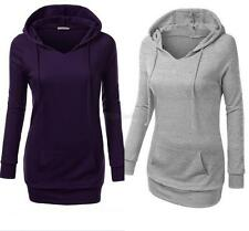 Womens Long Sleeve Casual Pullover Hoodie Jacket Sweater Coat Hooded Jumper A56