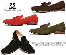 Mens Leather Slip On Suede Loafers Driving Shoes New Tassle Design UK Size 6-11