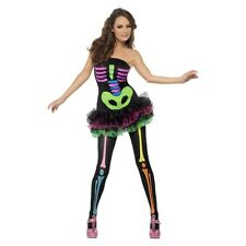 Neon Skeleton Costume Adult Halloween Fancy Dress Outfit