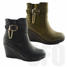Womens Ankle Boots Chelsea Celebrity High Heel Wedge Platform Shoes