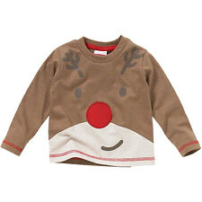Baby Childs Younger Boys Cute Christmas Rudolf Red Nose Reindeer Novelty Top