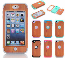 For Apple iPod Touch iTouch 6 6th Gen Wooden Shockproof Rubber Hard Case Cover