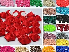 DIY10/50/100PCS Satin Glitter Satin Ribbon Rose Flower Wedding Appliques Craft#