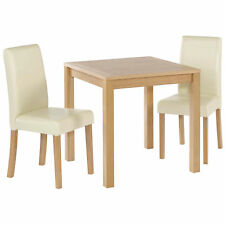 Oak Finish Dining Table and Chair Set 2 Leather Seats | Black Brown Red Cream