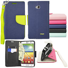 For LG Optimus L70 MS323 Premium 2-Tone Wallet Case + Pen + Screen Protector
