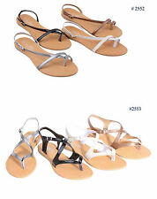 New Womens Ladies Roman Gladiator Flats Sandals Thongs T Straps Shoes, Size 5-10