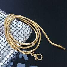 2mm Snake Chain Jewelry 18K Yellow Gold Plated Snake Chain Pendant Necklace Xmas