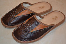 Mens Genuine Leather Slippers Shoes Sandals Brown Tan Handmade In Poland Scuffs