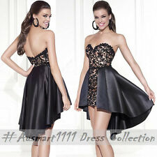 Sexy Strapless Lace Satin High Low Formal Party Dress Wedding Prom Evening Gown