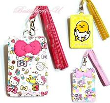 Authentic Sanrio Faux Leather Credit ID Card Badge Tag Holder Pass Case Lanyard