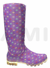 LADIES SPOTTY LAVENDER FUNKY WELLIES BOOTS 5 6 6.5 7 WIRELESS FESTIVAL WELLYS