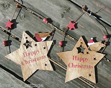 Shabby Chic Cute Hanging Wooden Robin Star Happy Christmas Tree Decoration Sign