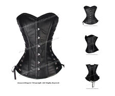 Full Steel Boned Heavy Lacing Leather Overbust Shaper Corset #8481-B(LE)