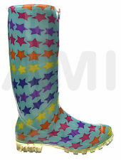 LADIES FUNKY TURQUOISE WITH STARS RAIN WELLIES SIZES 3 4 5 6 6.5 7 FESTIVAL P352