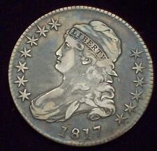 1817 BUST Half Dollar SILVER O-111 Variety VF+/XF Detailing PLANCHET FLAW Coin
