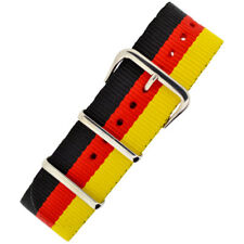 National Nato Nylon Military Watch Strap in BLACK/YELLOW/RED