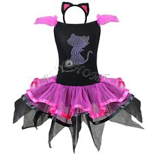 Kid Halloween Fancy Costume Cat Tutu Party Gown Dress Headband Outfit Dancewear